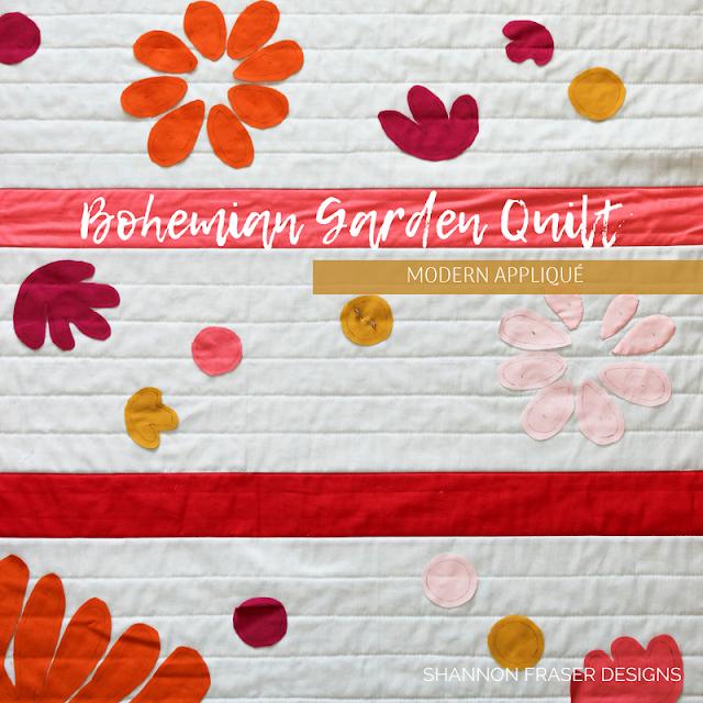 Bohemian Garden Quilt Pattern designed by Suzy Quilts | Modern Appliqué | Shannon Fraser Designs |