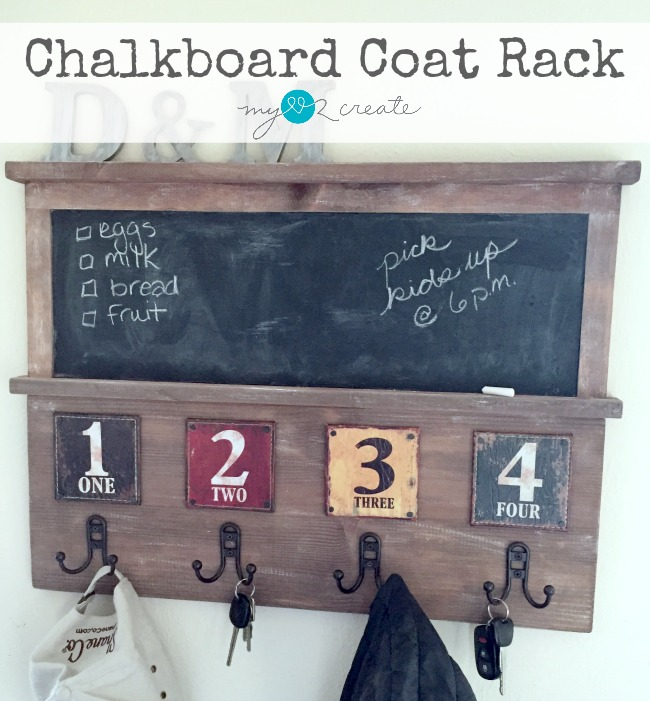 Make your own unique chalkboard coat rack featuring numbers leather coasters, tutorial at MyLove2Create