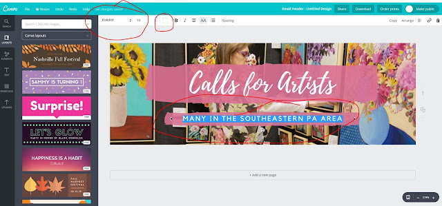 Step 7, How to use Canva, choose font, resize, choose color and write text, The Good Life of an Artist Blog by Merrill Weber
