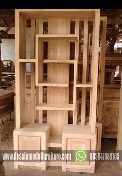 bufet partisi minimalis kayu jati asli jepara