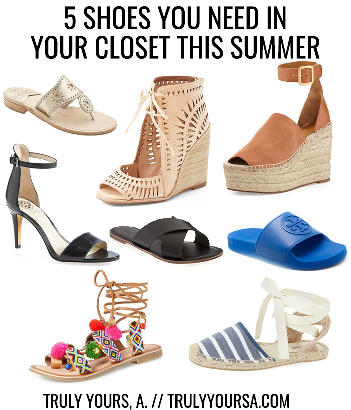 A fashion post of the 5 types of shoes that should be in your closet for summer '16 featuring athletic slides, laser cut wedges, espadrilles, embellished footwear, and basics.