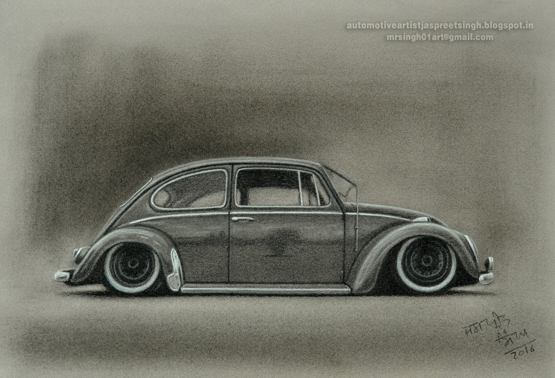 Volkswagen Beetle Drawing With Charcoal