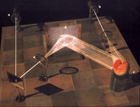 Fotografia do esquema de holograma, demonstrando o disparo do laser em espelhos, no objeto, e sua projeção.