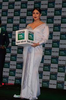 Bollywood Actress Kareena Kapoor Stills in Beautiful Silk Long Dress at Sony BBC Earth New Channel Launch  0011.jpg