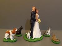 Sposini torte cake tops cani gatti animali domestici torta nozze orme magiche
