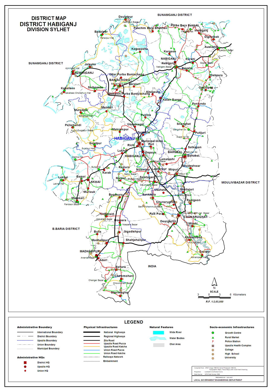 Habiganj District Map Bangladesh
