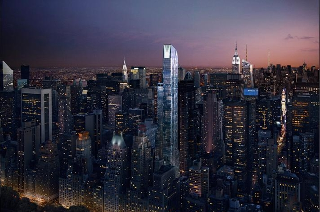 Rendering of One 57 by Christian de Portzamparc at night from the air with the city behind