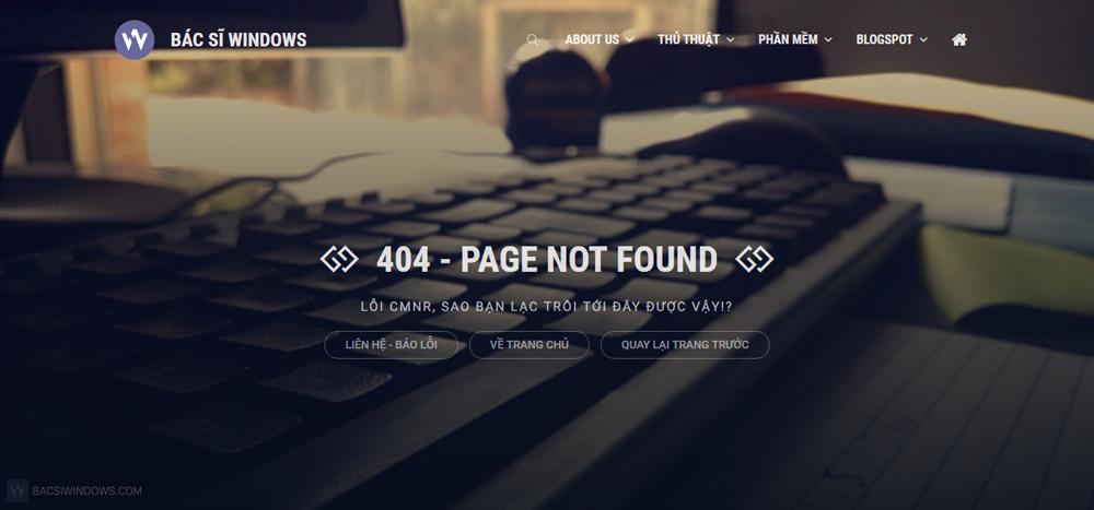 Tạo trang báo lỗi 404 bằng CSS tuyệt đẹp và chuyên nghiệp cho Blogspot