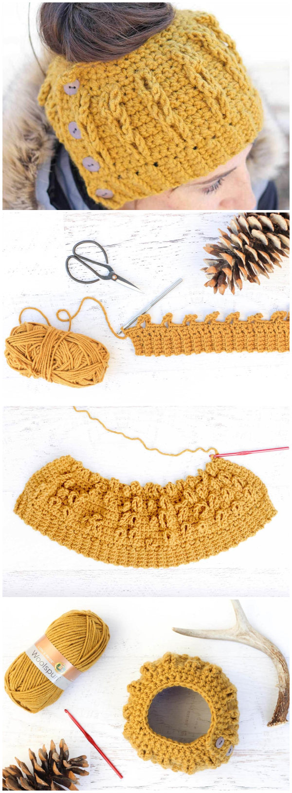 Faux Cabled Crochet Bun Beanie Free Pattern
