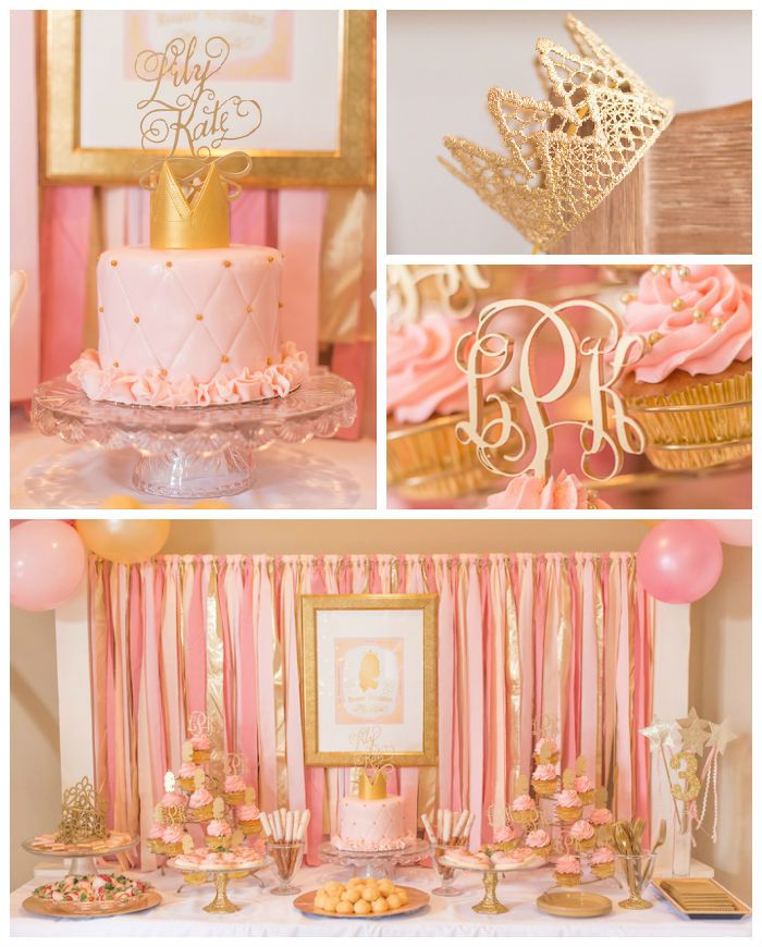 Kara S Party Ideas Royal Princess First Birthday Party: IDEAS: DECORACIÓN PINK AND GOLD