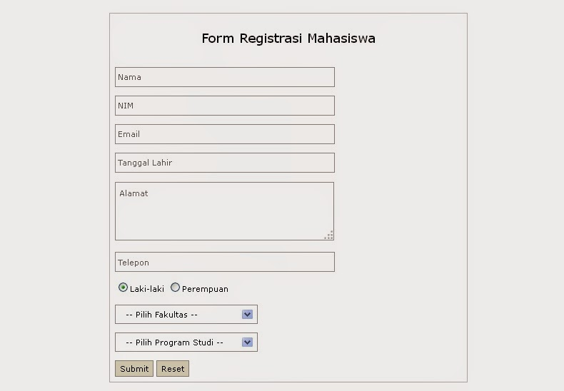 Form Registrasi PHP