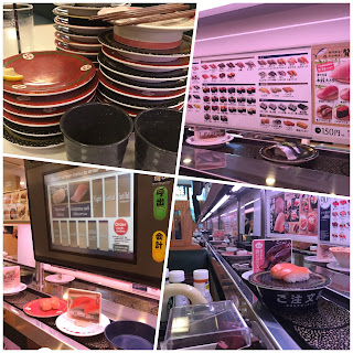 A collage of four pictures from a kaiten (conveyor belt) sushi restaurant: from top right clockwise, extensive menu, special order, computer screen, and stacked plates