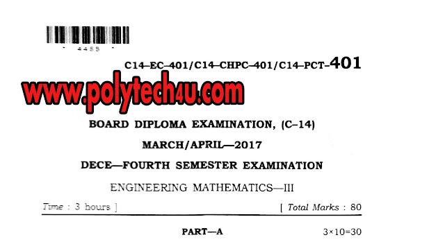 DIPLOMA MATHEMATICS-3 OLD QUESTION PAPER C-14 2017