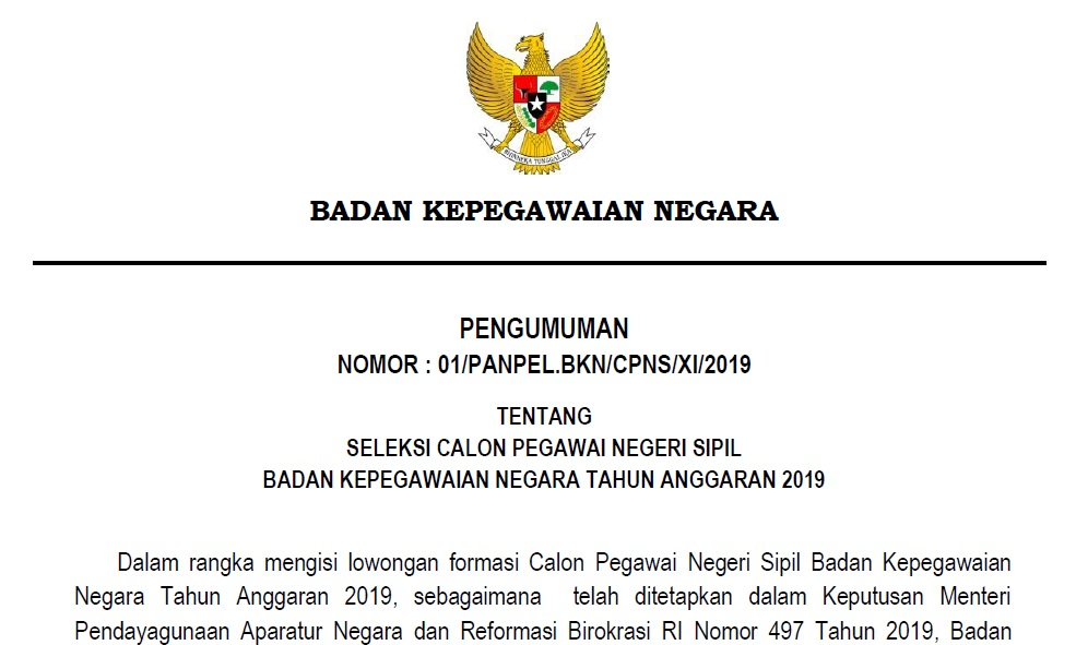Download Formasi CPNS Lingkungan Badan Kepegawaian Negara (BKN) Tahun 2019