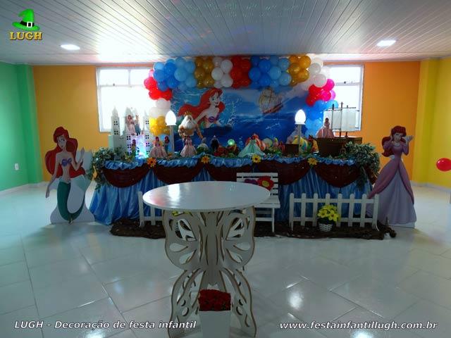 Decoração mesa de festa de aniversário tema Ariel - Mesa decorada infantil