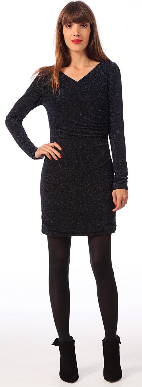 Robe courte moulante noire pailletée School Rag