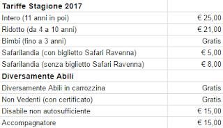 Tariffe Safari Ravenna 2017