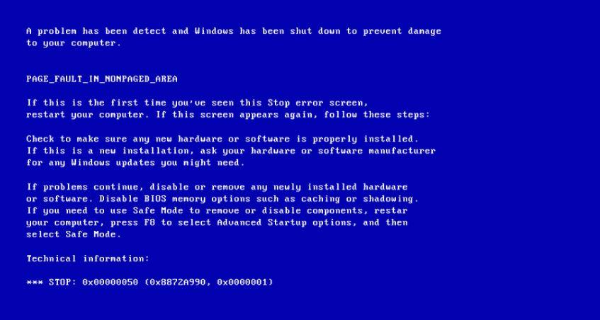 حل-مشكلة-الشاشة-الزرقاء-0x00000050-Page-Fault-in-Nonpaged-Area