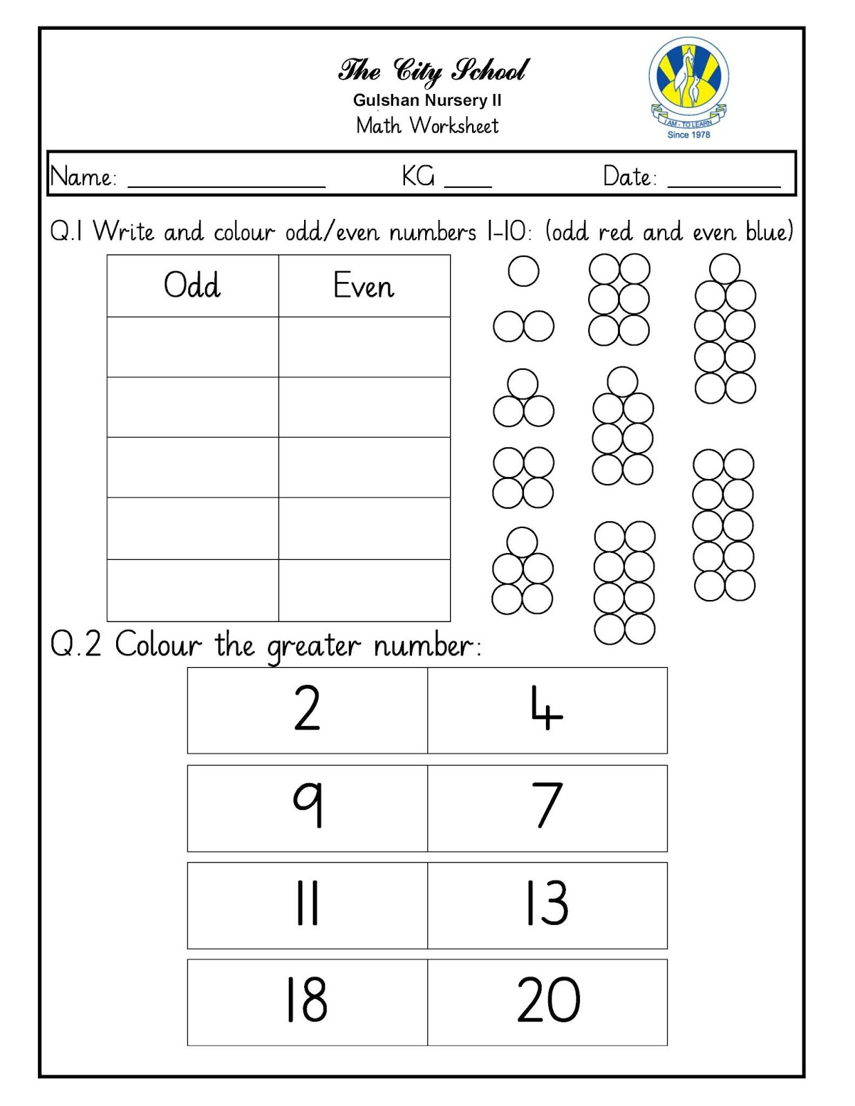 Sr Gulshan The City Nursery Ii Math Urdu And Colouring Worksheets