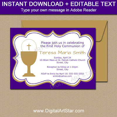 printable purple and gold First Communion invitation for girls