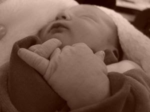 Sepia \ sleeping baby. Stock Photo credit: atolero