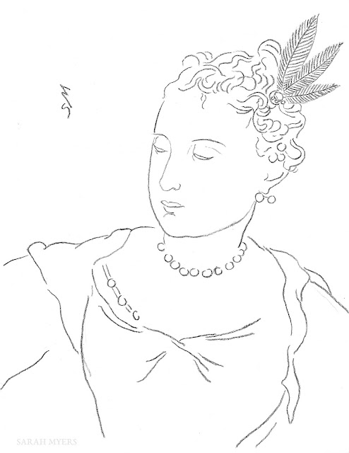 art, arte, kunst, drawing, line, line-drawing, sarah, myers, contemporary, baroque, woman, lady, figurative, minimal, minimalism, simple, hair, portrait, imaginary, modern, face, dessin, design, dibujo, feathers, pearls, curls, satin, downward, tranquil, sketch, fashion, style