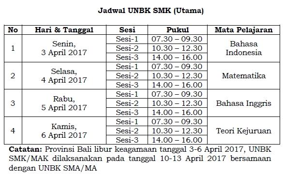 Jadwal UNBK SMK/MAK 2017 Utama