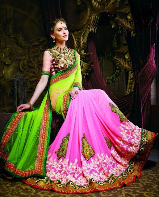 Lovely Green & Pink Net & Georgette Best Designer Lehenga Sarees  With Heavy Embrodered Blouse