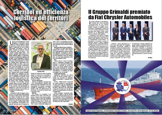 GENNAIO 2019 PAG. 17 - Il Gruppo Grimaldi premiato da Fiat Chrysler Automobiles
