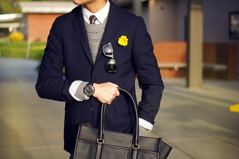 timeless design d59cf 30a75 CanvasLandsEnd Blazer Jogunshop trousers Zara boots Coach bag Allsaints  sweater H M shirt Nordstrom paisley tie Rayban sunnies ArmaniExchange watch