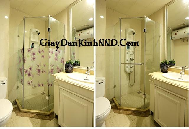 Decal dán kính trang trí cho cửa nhà tắm, toilet