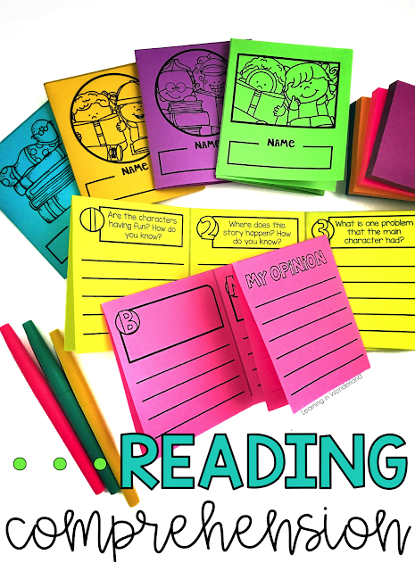 Reading comprehension foldables perfect for 1st and 2nd graders! They focus on story elements, characters, and many more skills!
