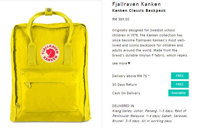beg kuning kanken murah di lazada dan zalora