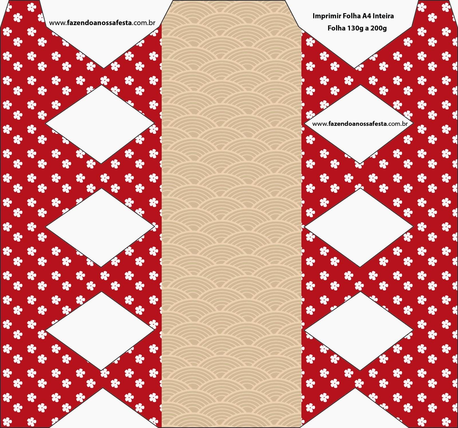 Cajas para Imprimir Gratis de Fiesta Estilo Japonés.