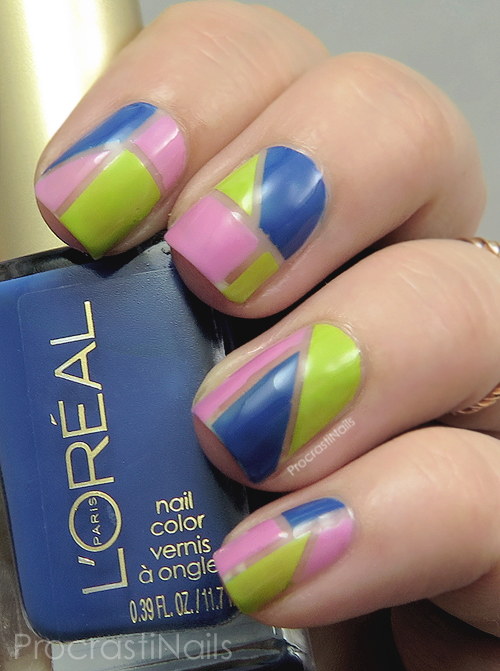 Pink, green and blue color blocked nail art
