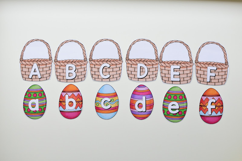 Easter Theme MATCHING UPPERCASE AND LOWERCASE LETTERS