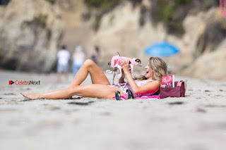 Rachel McCord In Swimsuit seen on the beach with her dog 026 ~ Celebs.in Exclusive