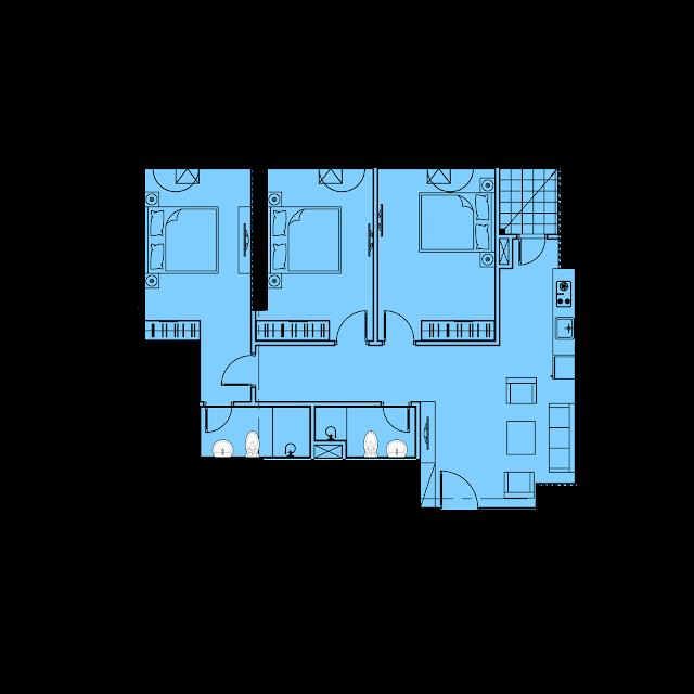 Thiết kế căn hộ B6 - 88,2m2 tòa River1 EuroWindow River Park