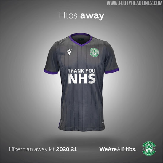 Hibernian Fc 20 21 Home Away Kits Revealed Feature Thank You Nhs Instead Of Sponsor Footy Headlines