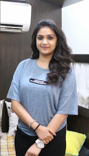 Keerthy Suresh in Blue T-Shirt with Cute and Lovely Smile with a Lucky Fan 3