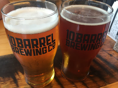 Enjoying a few brews at Portland microbrewery 10 Barrel Brewing Company which started in Bend, Oregon.