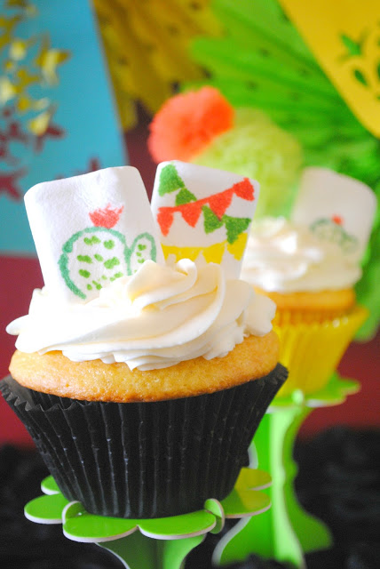 Cinco de Mayo cupcakes with diy marshmallow toppers created by Fizzy Party