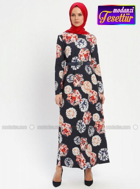 3da258edbbb5d Çiçek DesenliElbise - Lacivert - 2019 Çiçekli Elbise Modelleri - Modanisa