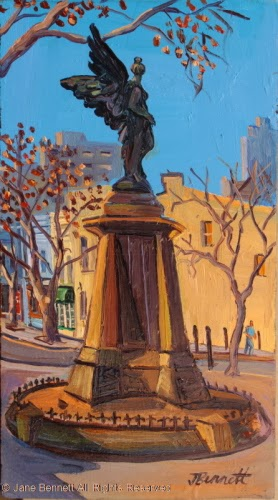 plein air oil painting of Union Square Pyrmont  by industrial heritage artist Jane Bennett