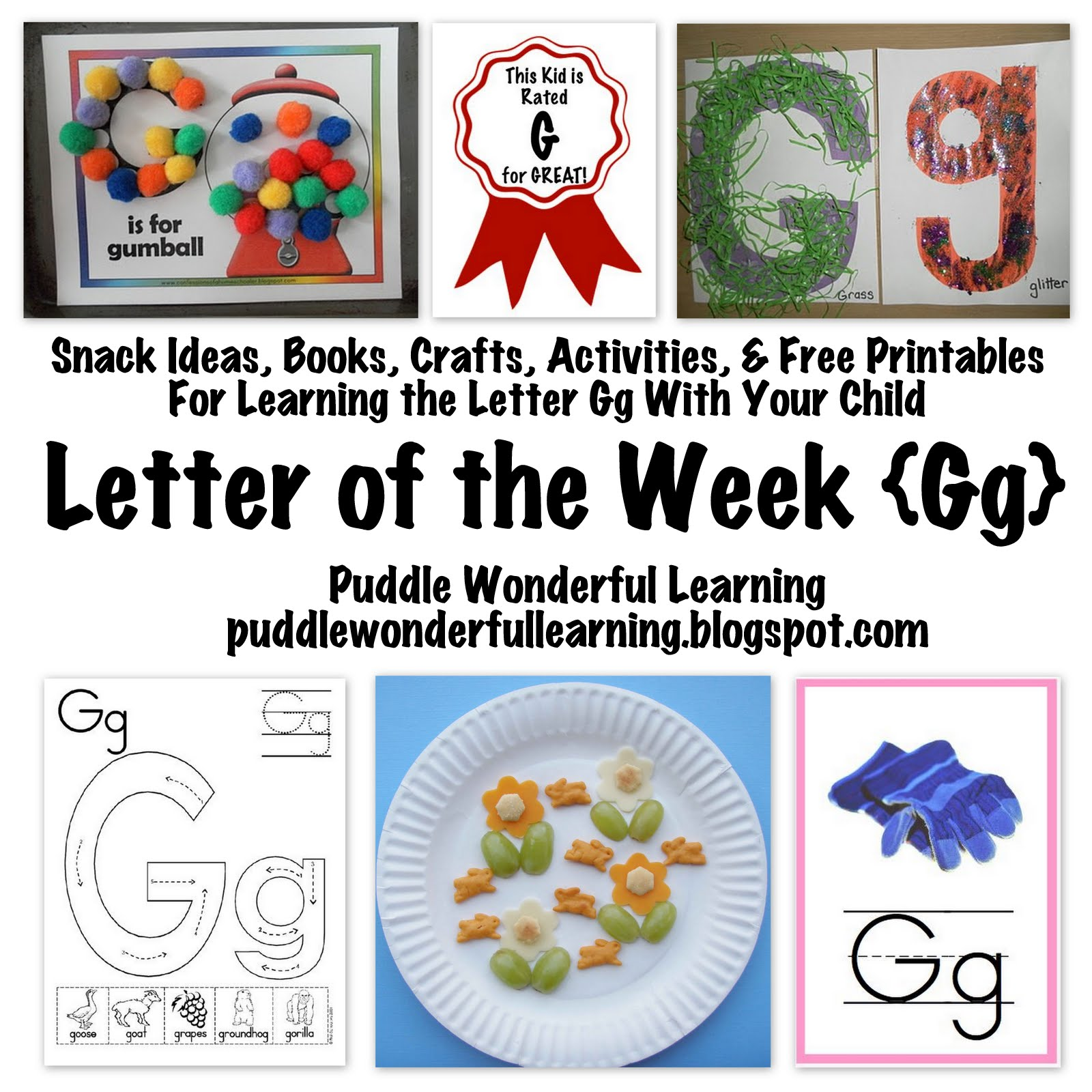 Puddle Wonderful Learning Preschool Activities Letter Of The Week Gg