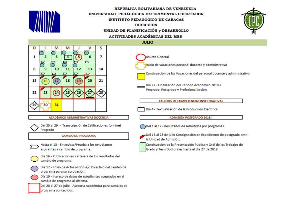 Noticias UPEL Caracas Calendario mes de Julio 2018