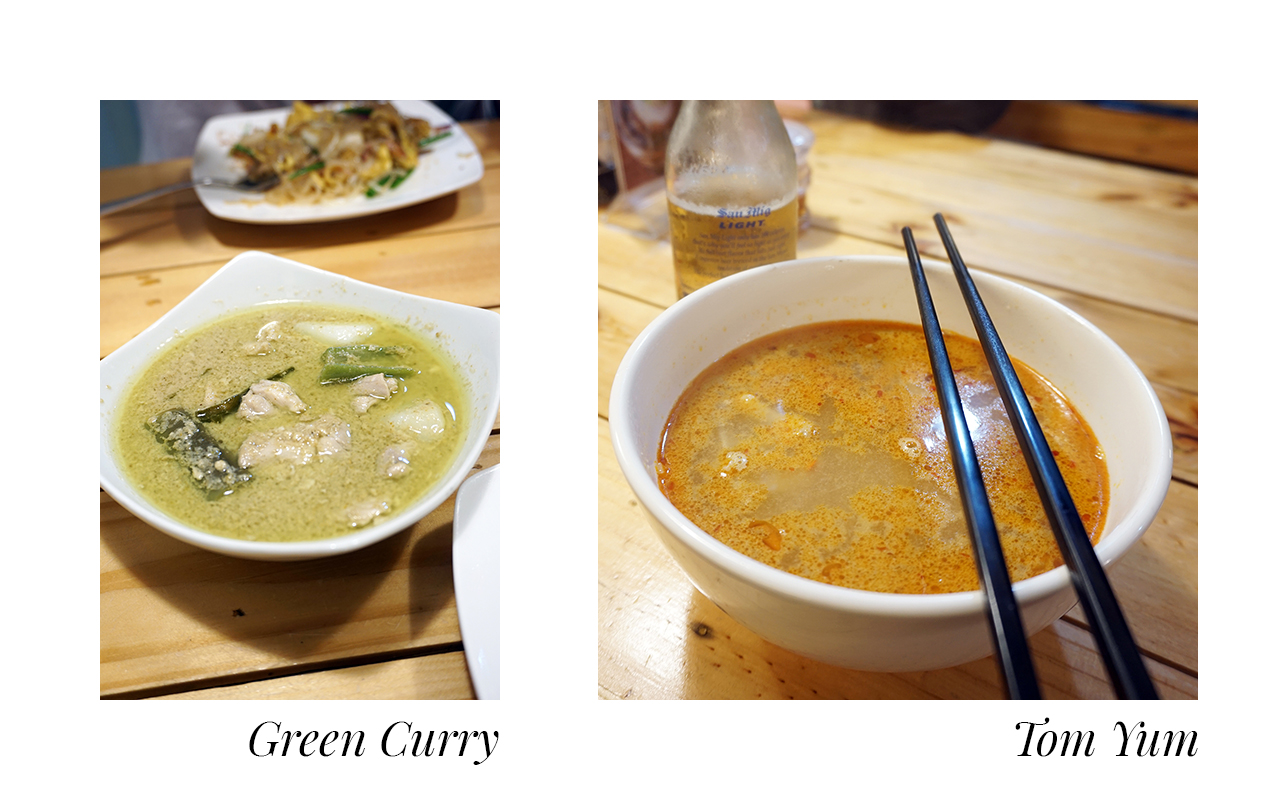 Lil Thai Cafe's green curry and Tom Yum