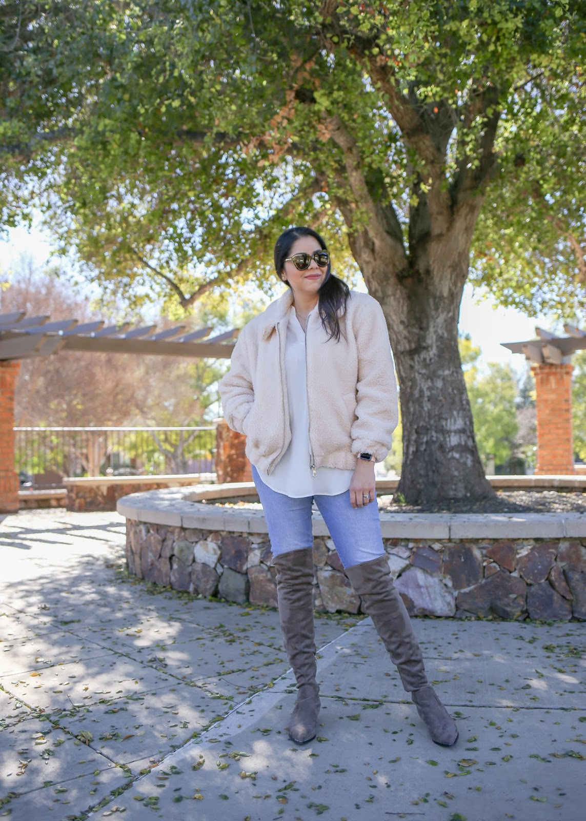 how to wear taupe over the knee boots, what to wear this February 2019