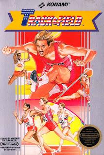 Carátula gráfica del cartucho de NES de Track & Field, Konami, 1985
