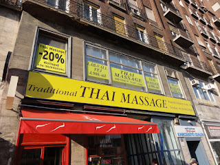 Thai massage place during the day. Trust me, it looked a whole lot different at night.